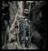 Original Design Jewelry S925 Sterling Silver Skull Half Body Skeleton Stern Bone Men and Women Pendant Necklace