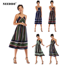 NEEDBO Summer Dress Women Sexy Dresses Party Night Club Dress 2019 Vestidos Striped Spaghetti Strap Casual Midi Dress For Women