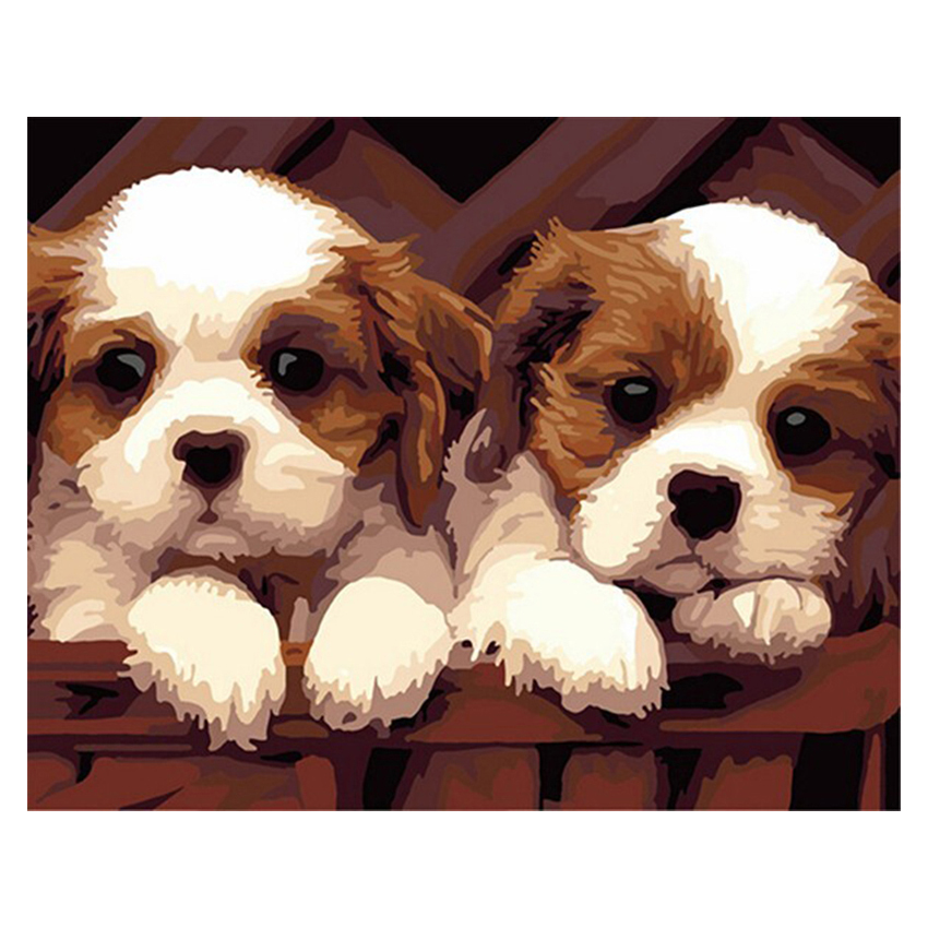 HOT SALE Double Of Dogs DIY Digital Painting Kits Paint On Canvas For Children Unique Gift