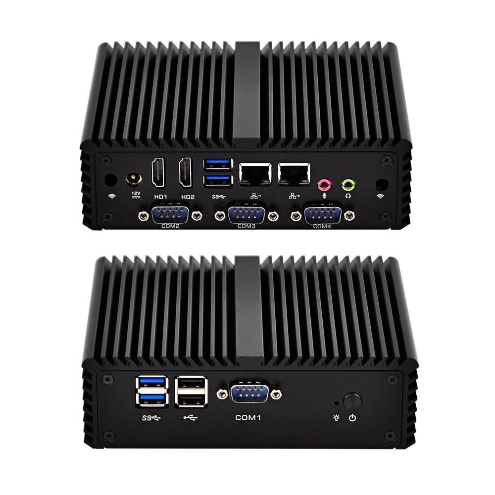 AES NI 4 RS232 X86 Ubuntu Linux Mini Computer Pc,Q400P.Firewall Router OS,Fanless,Dual LAN Gateway PC