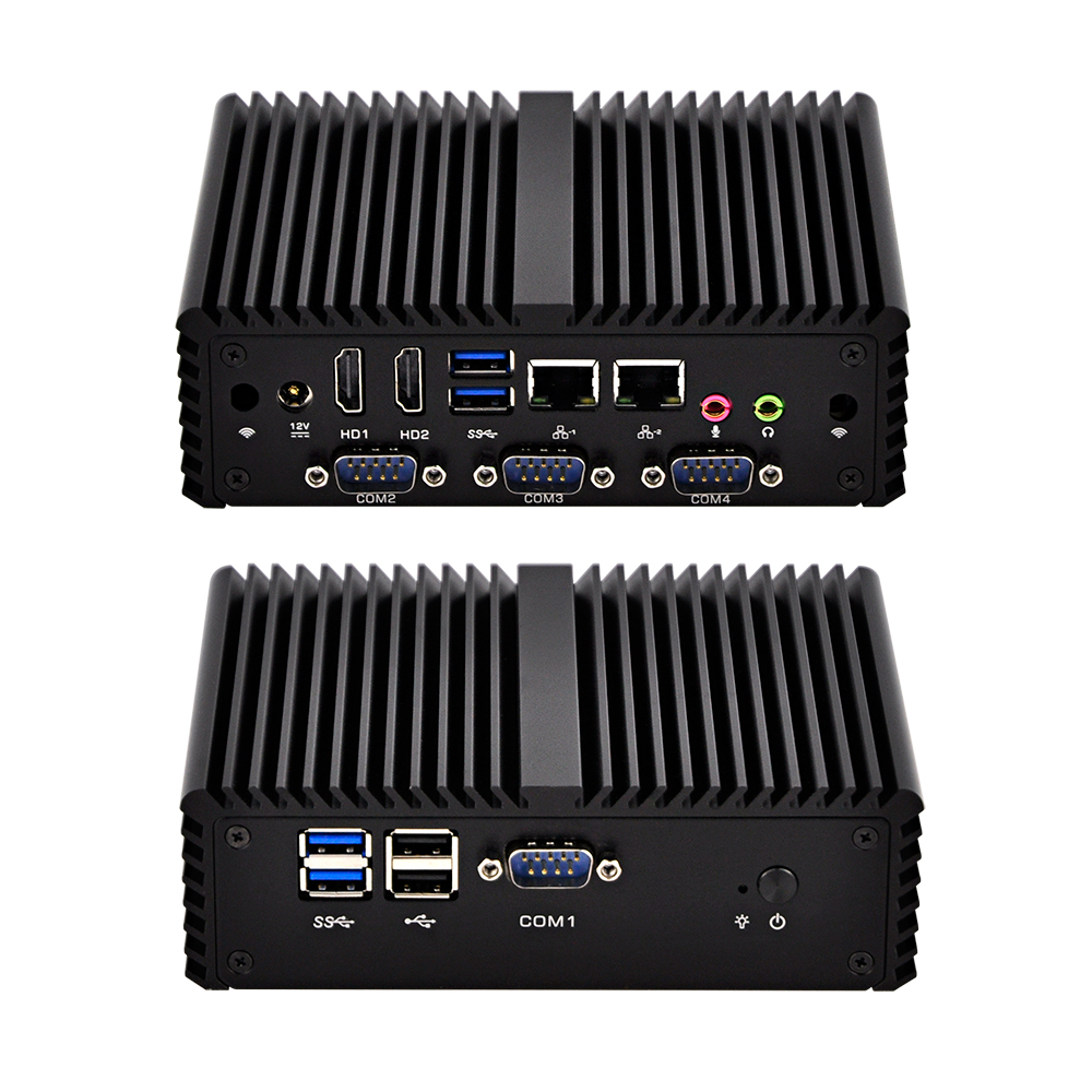 Hottest New Firewall Linux 4 RS232 Win 10 Fanless X86 Mini Computer.Q400S ,1080P,AES NI,Dual LAN Office PC