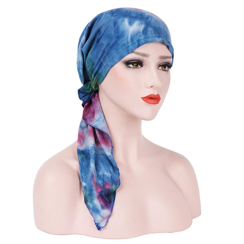 Hot selling Women India Muslim Stretch Turban Hat Tie-dye Cotton Hair Loss Head   Scarf     Wrap   Hat for women 7.3