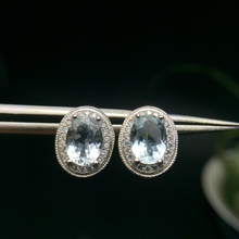 Natural aquamarine stud earrings, beautiful in color, small