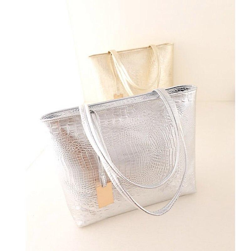 Colore Tote Nero Pu Di Grande Sacchetti Oro Metallico Spalla Donne Pelle oro In argento Il Delle Retro Bolsas Femininas Borse Borsa wSBqqxI0