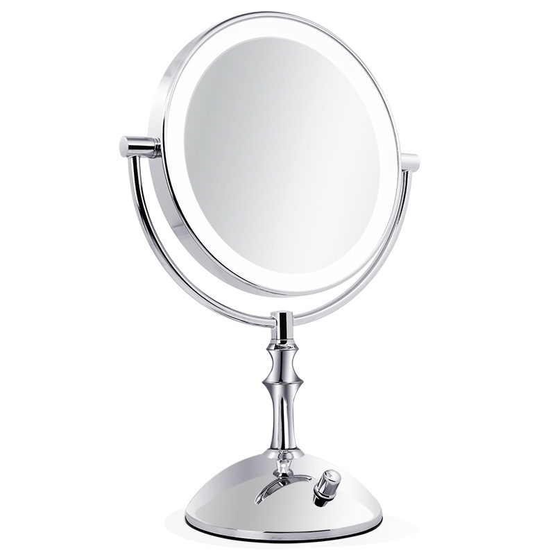 Silver 8 Inch Desktop Makeup Mirror 2-Face Metal Mirror 3X 5X 10X Magnifying Cosmetic Mirror LED Lamp Adjust the Brightness large 8 inch fashion high definition desktop makeup mirror 2 face metal bathroom mirror 3x magnifying round pin 360 rotating