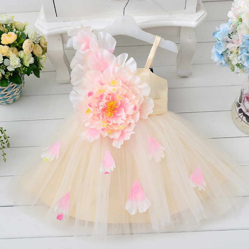 Kid Summer Dress For Girl Lace Flower Cute Little Princess Dresses Children Girls' Clothing For Birthday Party Tulle Tutu Dress ems dhl free shipping toddler little girl s 2017 princess ruffles layers sleeveless lace dress summer style suspender