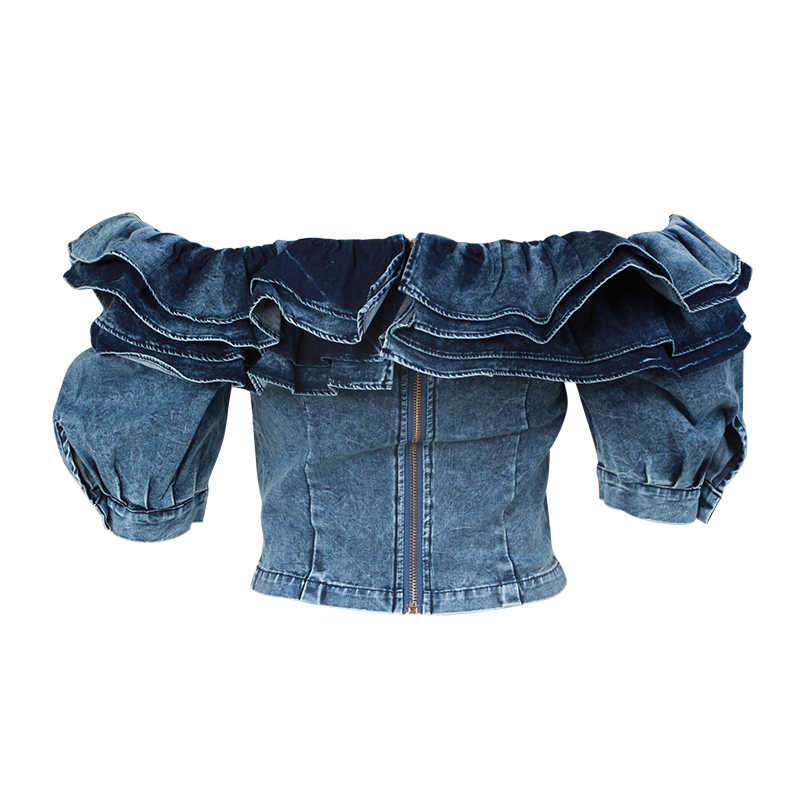 TWOTWINSTLE Ruffle Denim Crop Tops Female Puff Sleeve Square Collar Sexy Shirt Blouse Women Summer 2019 Fashion New