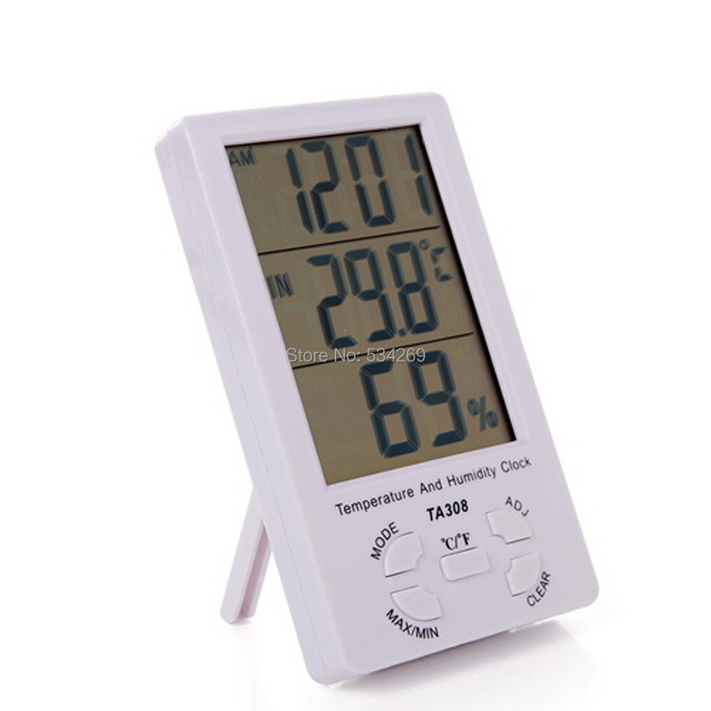 TA308 Big LCD Screen Indoor Thermometer Electronic Temperature & Moisture Tester with Time Display Hygrometer