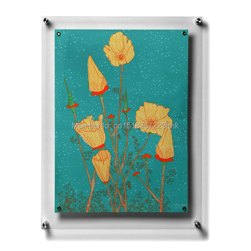 (Pack/5units) A2 Wall Mounted Acrylic Plexiglass Floating Plexiglass Gallery Frames for Artwork and Posters YPD 001 3