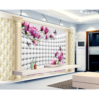 Mural 3d TV backpack Wall Paper Charm 3D Orchid reflection Sofa Murals Wallpaper for walls papel de parede 2016 #169