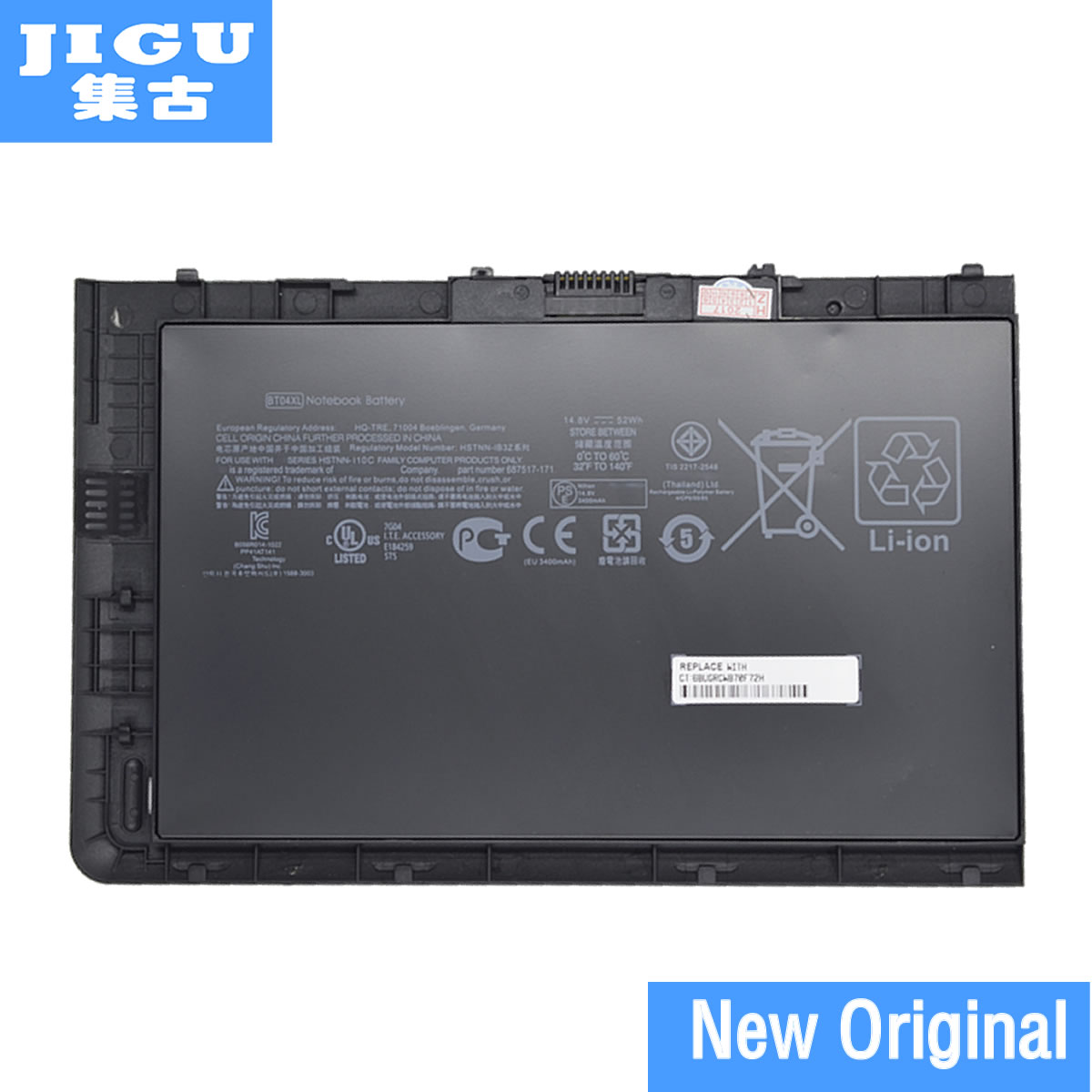 JIGU ORIGNAL Laptop Battery BT04XL 687517-2C1 HSTNN-DB3Z HSTNN-IB3Z HSTNN-I10C 687945-001 FOR HP FOR For EliteBook Folio 9470m jigu laptop battery bl06042xl bl06xl hstnn db5d hstnn ib5d hstnn w02c for hp for elitebook folio 1040 g0 g1 l7z22pa