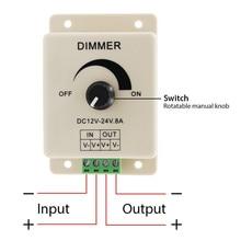 12V 24V LED Dimmer Switch 8A Voltage Regulator Adjustable Controller for Strip Light Lamp