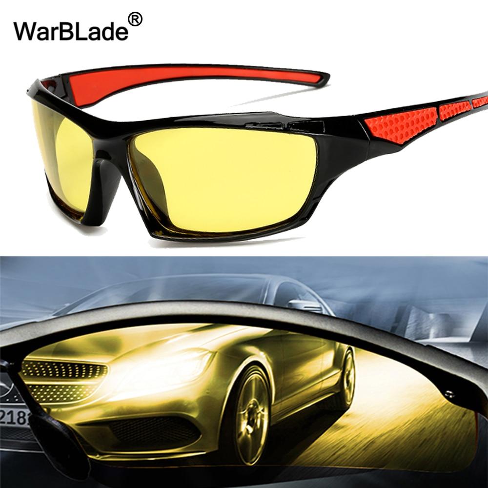 6e98cadd226c3 Homem Óculos de Visão Noturna Motorista WarBLade Driving Night Vision óculos  de Condução óculos de Lente Amarela Clássico Anti Visão Brilho
