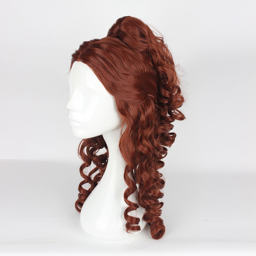 Beauty and The Beast Princess Belle Cosplay Wigs for Women Female Anime Costume Party 60cm Long Curly Wavy Synthetic Hair Brown