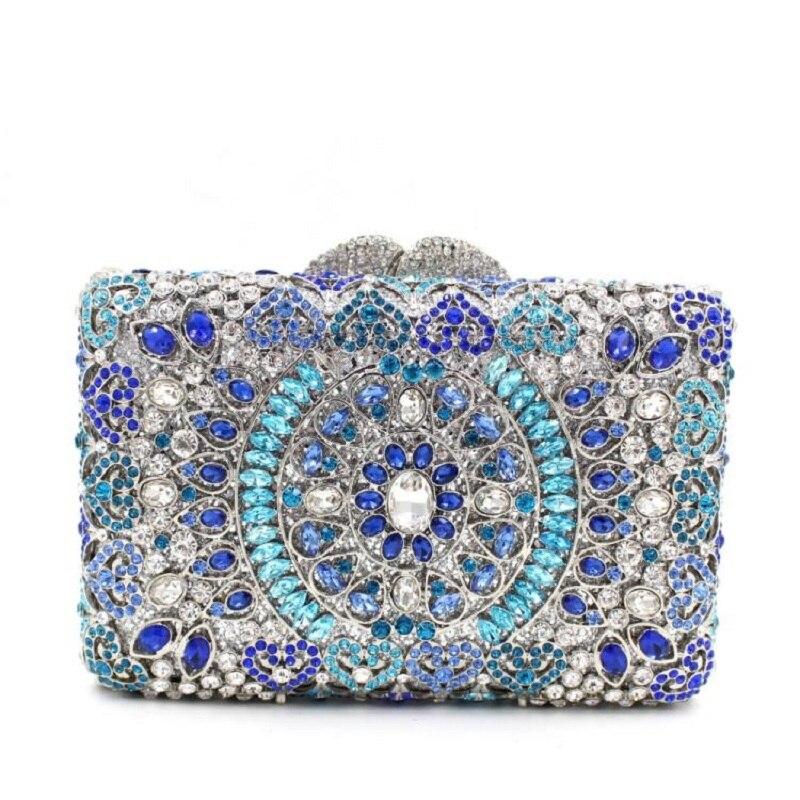 ФОТО 8266BE blue crystal Lady fashion Wedding Bridal Party Metal hollow Evening purse clutch bag box handbag case