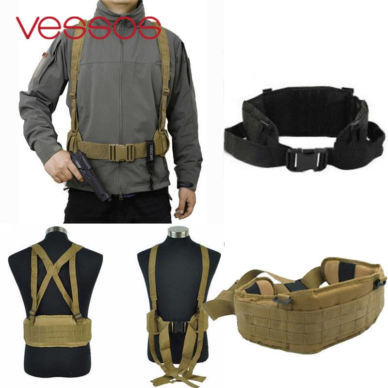 2017 Hot Molle Airsoft Tactical Waist Padded Belt With H-shaped Suspender Cummerbunds Military Molle Nylon Waist Padded Belt