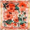 Lenço de seda 2016 Nova Marca de Luxo Mulheres Xales e Wraps Espanha Flores Impresso Bandana Foulard Subiu Hijab Lenço Feminino