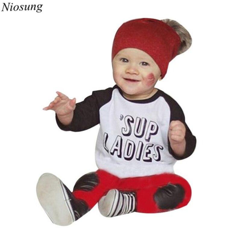 Niosung 2 PCS Enfant Bébé Garçons Lettre Imprimé À Manches Longues T-shirt  Tops + Pantalon Tenues Vêtements 1 Set Enfants Vêtements costume v 05c5e72fc9c