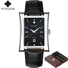 Brilham Hora Data dos homens Relógios Top Marca de Luxo Relógio Quadrado  masculino Pulseira de Couro 3468d920fa