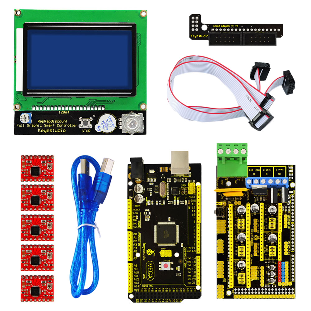 Free Shippng!Keyestudio 3 D DIY Printer Kit For Arduino With RAMPS 1.4+Mega 2560+5xA4988 Motor Driver+LCD 12864 Controller