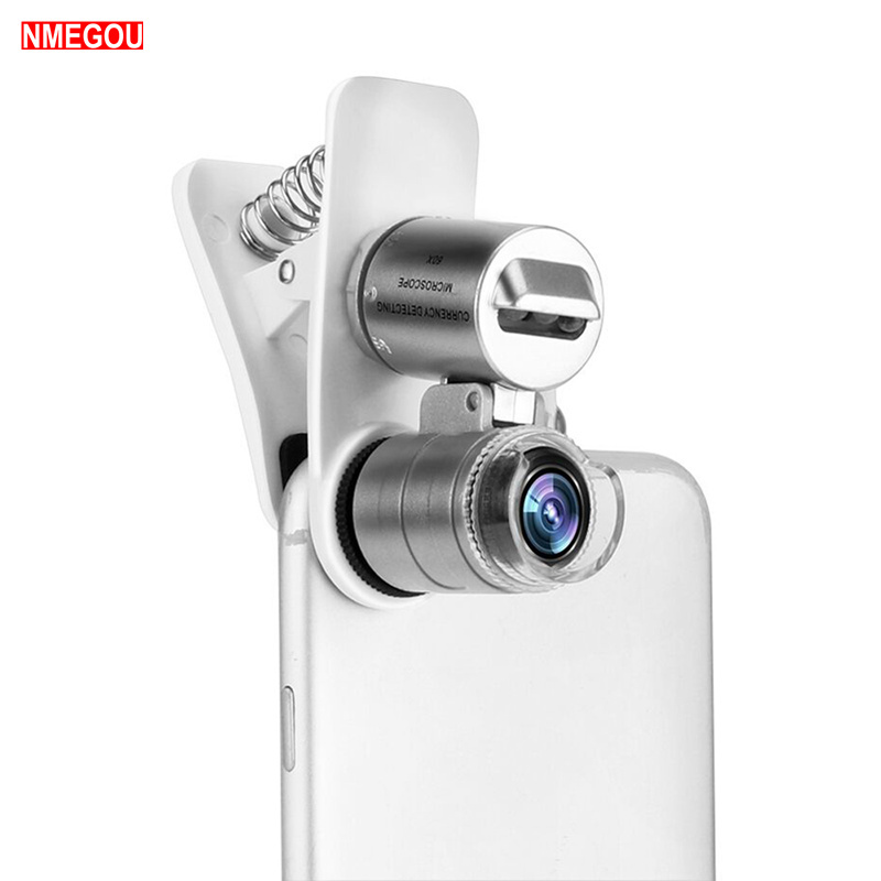 Mobile Phone Loupe Microscope Macro Lens 60X Optical Zoom Magnifier Micro Camera Clip LED Lenses for IPhone 5 6S 6 7 8 Plus X XS mobile phone