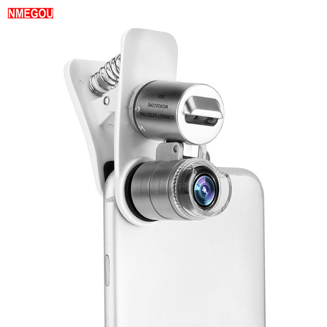 timeless design 00e0b 829fb US $3.39 15% OFF|Mobile Phone Loupe Microscope Macro Lens 60X Optical Zoom  Magnifier Micro Camera Clip LED Lenses for IPhone 5 6S 6 7 8 Plus X XS-in  ...
