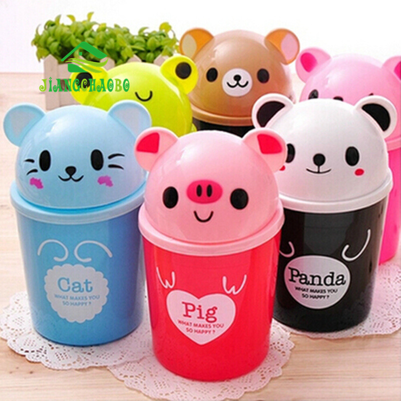Mini Debris Bucket Cartoon Cute Trash Barrel Kreativ Desktop Storage Waste Bin Animal Trash Can