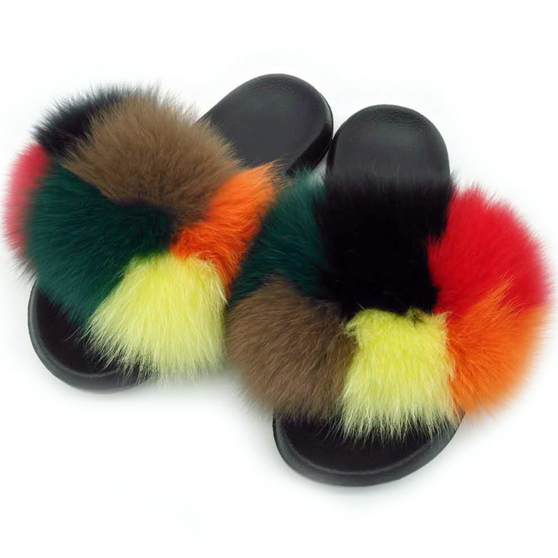 COOLSA Summer Real Fox Fur Slides Non-slip Fluffy
