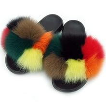 df7026a7f8 Women Summer Real Fox Fur Slides Women Non-slip Fluffy Fur Slippers Women  Furry Slippers
