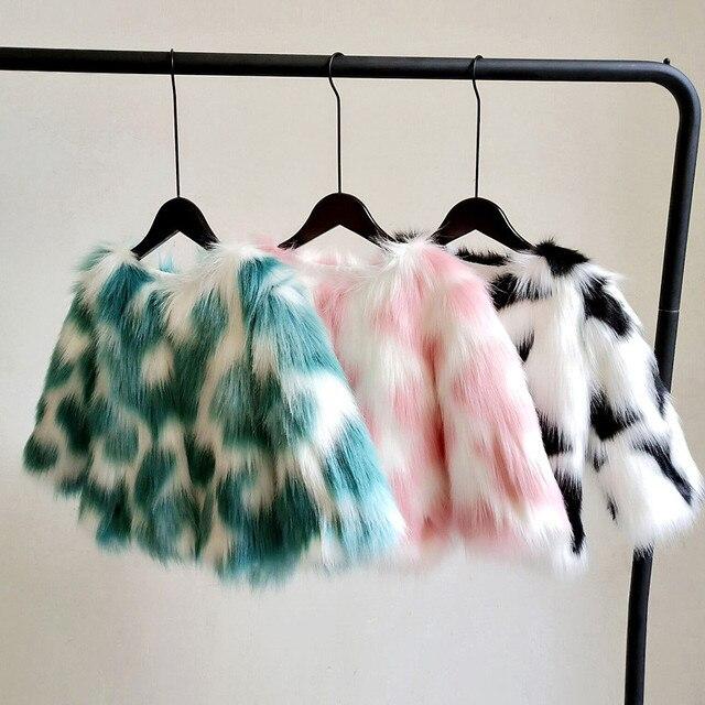 LILIGIRL Girls zimowa kurtka ze sztucznego futra dziecięcy ciepły płaszcz dla dziecka kolorowe znosić chłopcy wysokiej jakości kurtki futrzane topy ubrania