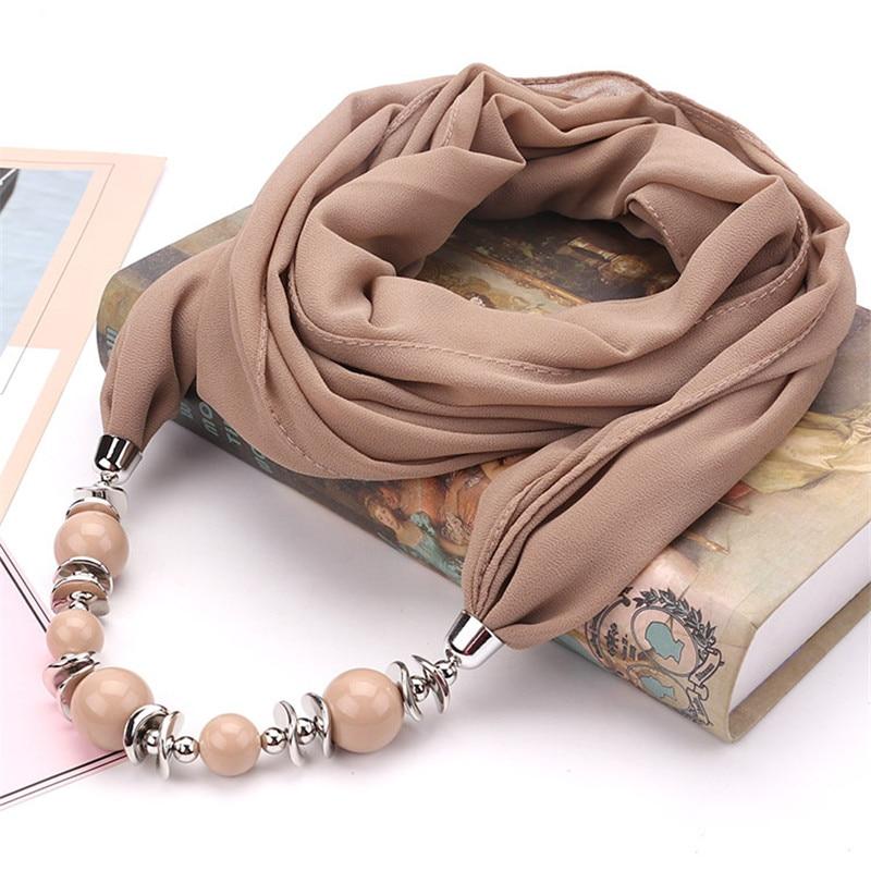 RUNMEIFA 2019 New Fashion Solid C iffon Pendant Necklace Scarf for Women Spring Muslim Head Scarf