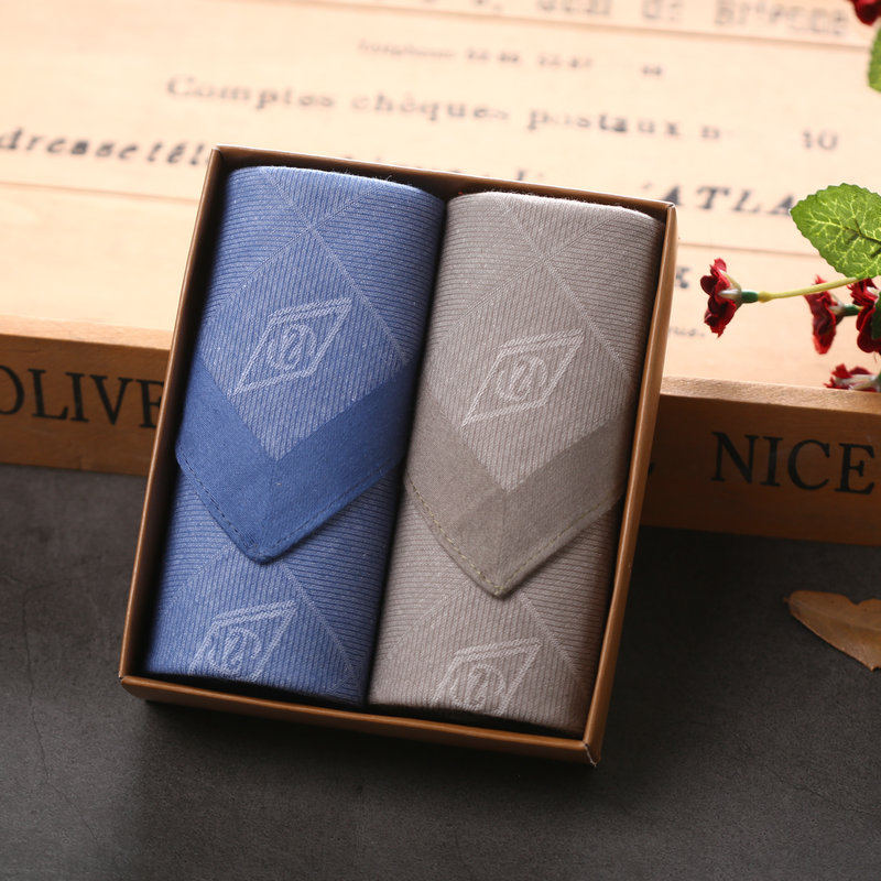 2 Pieces Gfit Box Cotton Men's Handkerchief Square Jacquard Handkerchief Wipes 43*43cm
