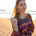 Liga de prata do Vintage encantos amantes Beachy Chic étnico Tribal Gypsy Boho Festival cadeia pulseiras feminino jóias