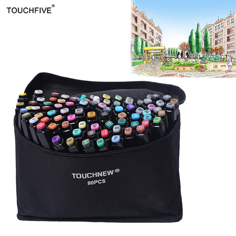 Touchfive 36/48/72/80  Colors Art Marker Set Dual Head Sketch Markers Brush Pen For Draw Manga Animation Design Art Supplies dainayw 12 cool grey colors marker pen grayscale dual head art markers set for manga design drawing school student supplies