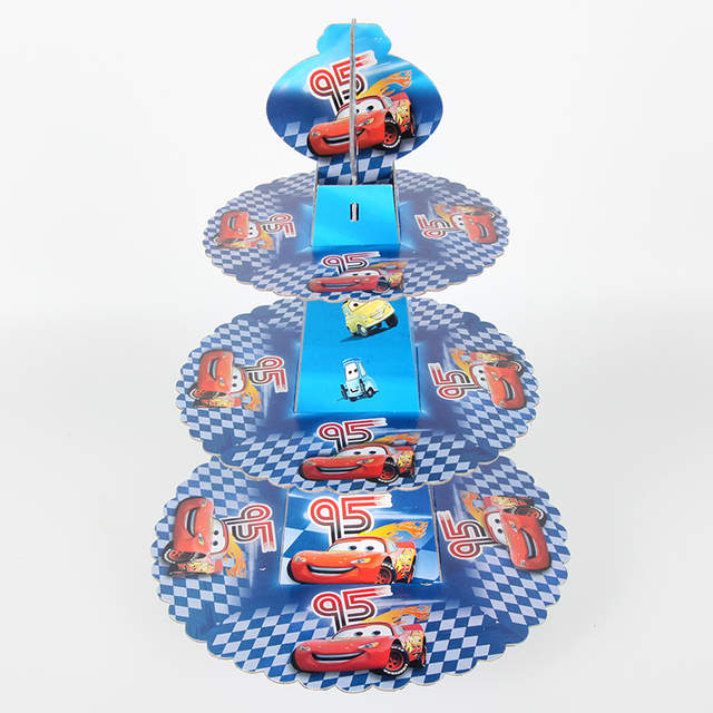 Online Shop Disney Cars 3 Tier Kids Birthday Cardboard Cupcake Paper Stand Plates Party Mcqueen Theme Cake Holder Lunch Tea Time