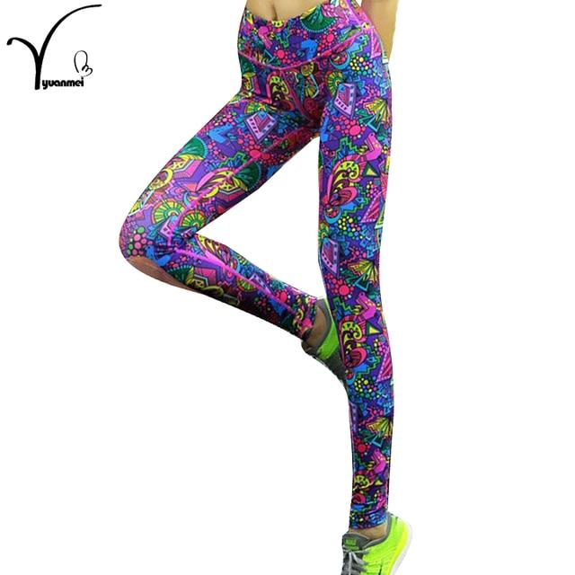High Elasticity Printed Women Yoga Pants / Leggings / Tights