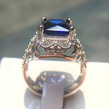 Big Blue CZ Zircon Stone Vintage Silver Ring Fashion Wedding Engagement Jewelry