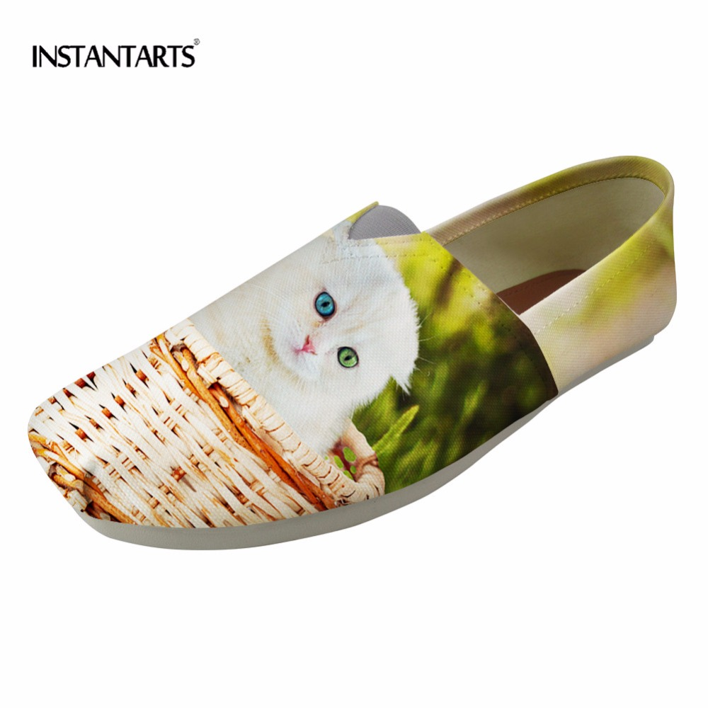 INSTANTARTS Women Summer Loafers Casual Shoes Woman Fashion Slip-on Flats Cute 3D Cat Design Slackers Shoes Pug Dogs Lazy Shoes