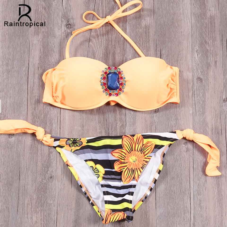 Raintropic 2019 New Swimwear Bikinis Sexy Women Swimsuit Summer Bandeau Bikini Printed Bikini Set Solid Beach Bathing Suits