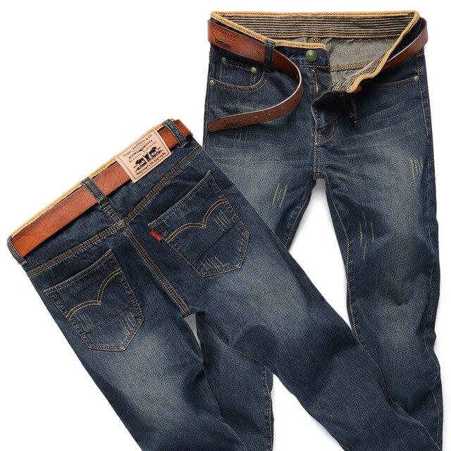 2016 Моды для Мужчин Джинсы Бренд Мужской Случайные Прямые Джинсовые мужские старый обработки Джинсы Тонкий раза джинсовые Марки Джинсы Полный длина