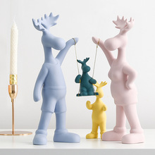 Nordic ceramic family four deer statue home decor crafts room decoration ornament porcelain animal figurines wedding