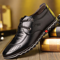 2017 Spring High Quality Men Flats Genuine Leather Casual Shoes Fahsion Lace up Flat Shoes