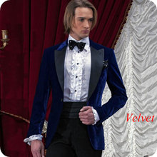 Royal Blue Velvet Men Suits for Wedding 2019 Latest Coat Pants Designs Smoking Prom Jacket Custom Groom Tuxedos Party 2 piece