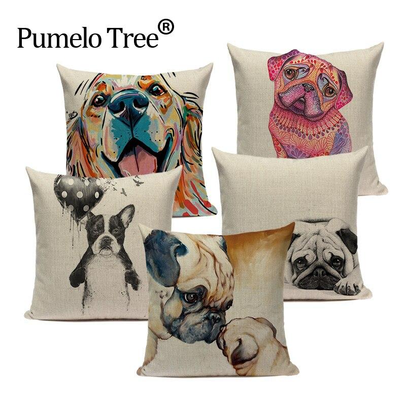 High Quality Throw Pillows Cotton Linen pug dog Almofadas Fundas 45Cmx45Cm Square Home Couch Seat Decor Printed Cushion Cover