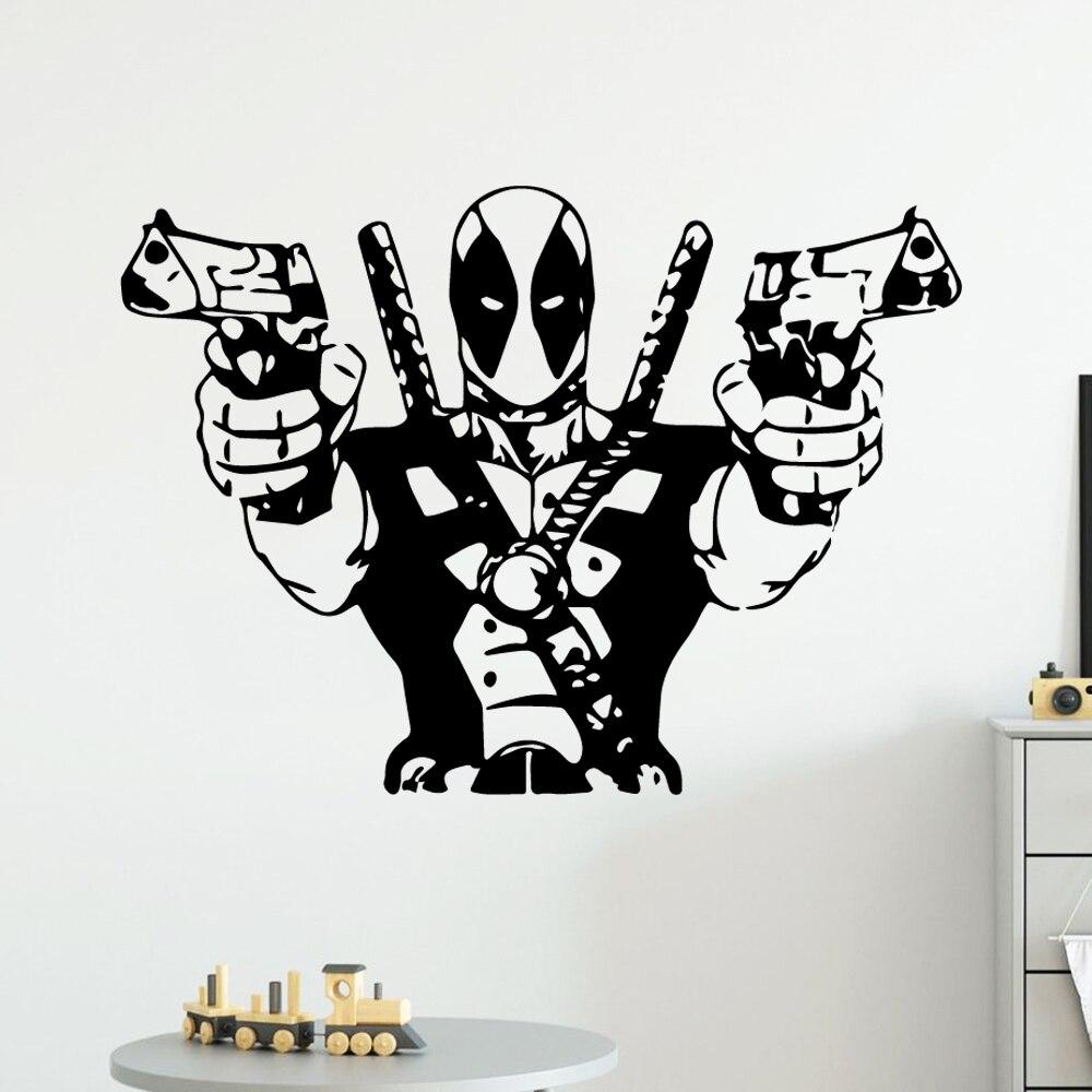 Cool deadpool Wall Sticker Vinyl Decor For Living Room Bedroom Removable Decoration Wall Decals muursticker