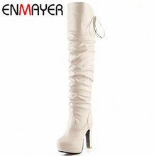 ENMAYER New Fashion Women boots High Heel Platform Long Shoes Knight boots Sexy Lace up Over The Knee High Winter Boots 3 Colors enmayer woman knee high boots women shoes winter boots shoes women real leather thigh high booty fashion knight boots cr1967