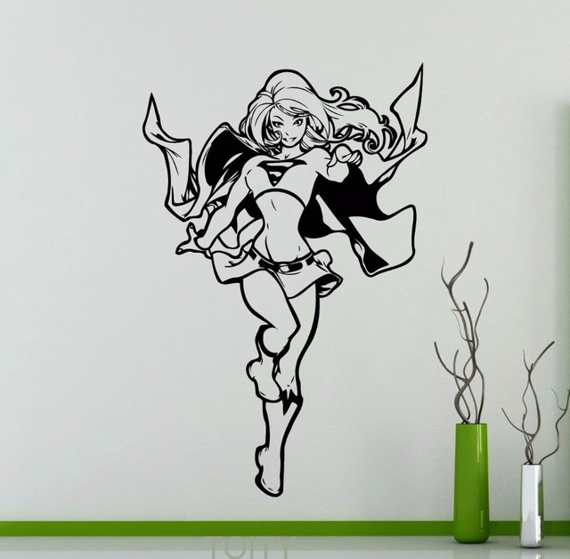 Supergirl Vinyl Sticker DC Marvel Comics Superhero Wall Decal Home Interior  Decor Teen Room Cool Art