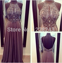 2019 High Quality Elegant New Style Fashion Prom Evening Gown Beaded Scoop Chiffon Long Sex Dresses