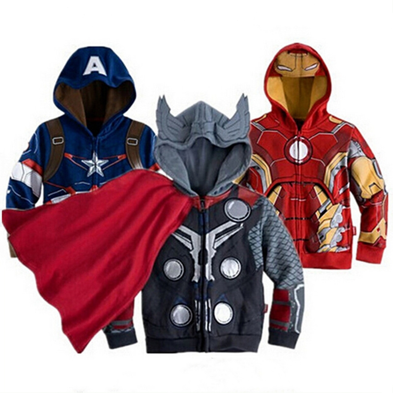 Spring Kids Coats for Boys Hulk Superhero Batman Iron Man Costume Spiderman Hooded Outerwear Toddler Boy Jacket Baby Boy Clothes