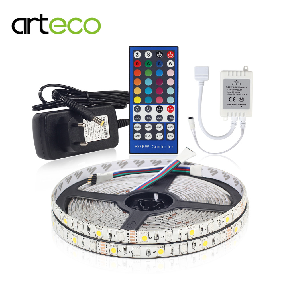 цена на 12V 5050 RGBW LED Strips 5M 300LEDs 5PIN LED Strip Light RGB W RGBWW +40 Key IR Remote RGBW Controller +3A Adapter Power Supply